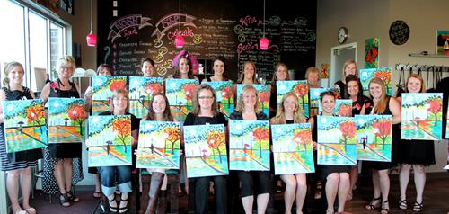 Fun Art, not Fine Art!  No experience needed to paint with us!! Open Classes Nightly!!