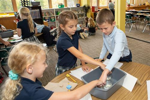 In 2019-2020, St. Croix Catholic launched a new Science program, K-8: Full Option Science System (FOSS), a natinoally renowned hands-on program. Students perform experiments, create models, analyze data, and draw conclusions.