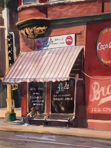Waer color Painting of Leo's Malt Shop by Catherine Hearding