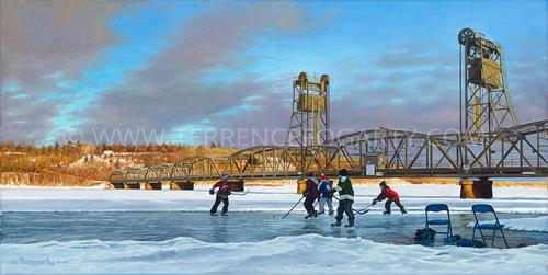 Hockey players with the lift bridge in the background. Terrence Fogerty print