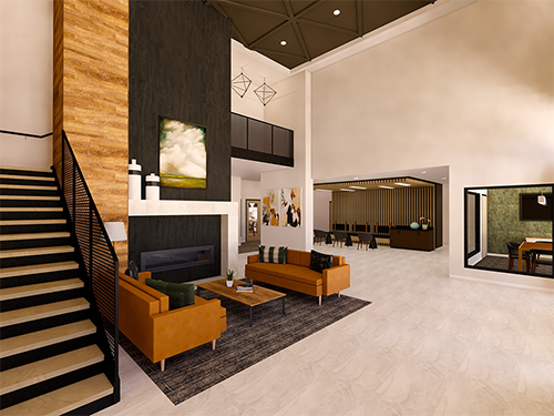 The Fireside - artist rendering of grand lobby at Zvago Stillwater