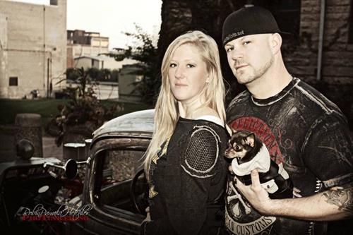 Wife Alison and one of our dogs Tank with our Rat Rod