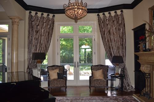 Elegant & Luxurious Draperies Create a Wow Factor Upon Entrance for a home in Lakville, MN