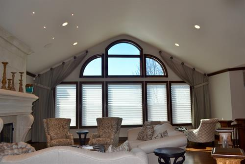 """This Hudson, WI homeowner wanted to complement the wall of complex windows overlooking the St. Croix river, and add a """"Wow"""" factor."""