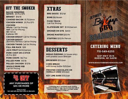 catering menu off the smoker