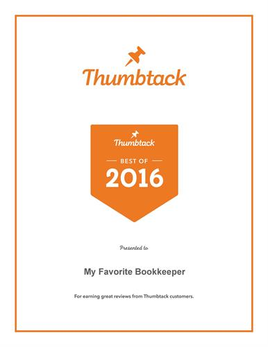 Best of Thumbtack Award for customer service 2016