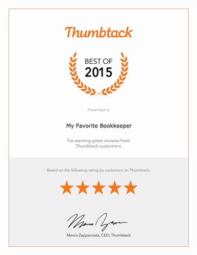 Best of Thumbtack Award for customer service 2015