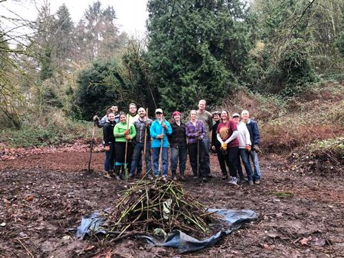 We vanquished a large patch of blackberry and covered area with mulch.