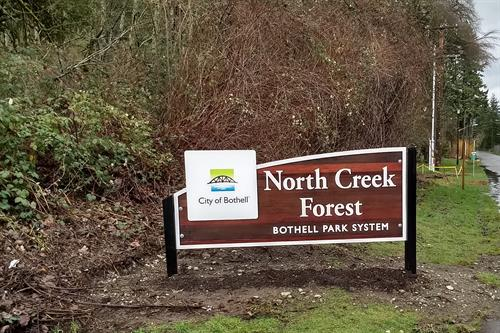 The new sign!  The North Creek Forest is officially a City of Bothell preserve/park!
