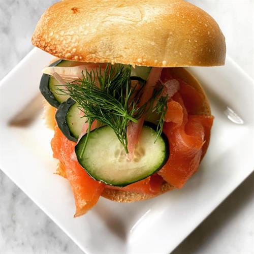 Bagel with Salmon Lox, Cream Cheese, Dill and Cucumber