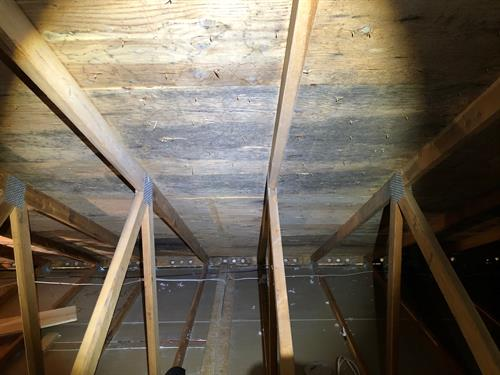 Attic mold before the trained technicians at Advanta Clean remediated the mold.