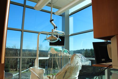 Floor to ceiling windows while you lay back and get your teeth cleaned
