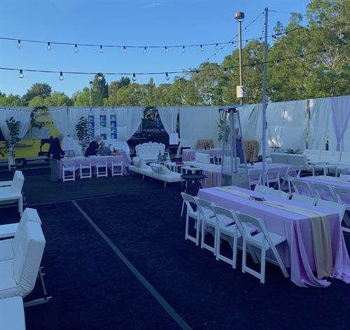 Wedding Reception Space, created in a parking lot entirely staged to function for the wedding