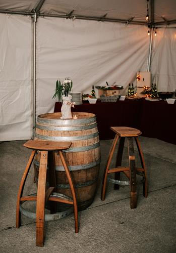 Backyard Party; Wine barrel cocktail tables with matching stools
