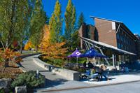 Students enjoy a fall day on the beautiful UW Bothell campus