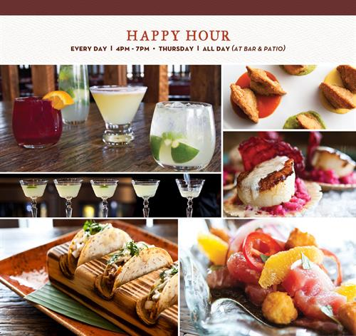 Happy Hour everyday from 4pm-7pm and on Thursdays it is ALL DAY!! (Bar and Patio only)