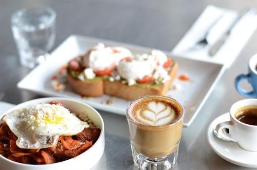 Avocado Toast, Pork Belly Chilaquiles and Bluebonnet Coffee.  Sunday Brunch