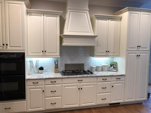 Cabinet painting in snow white with raised panel