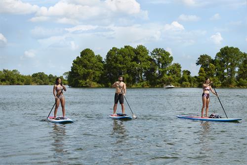 SUP Board rentals from Einstein's Surf & Boat Shop at Margaritaville Lake Resort, Lake Conroe | Houston