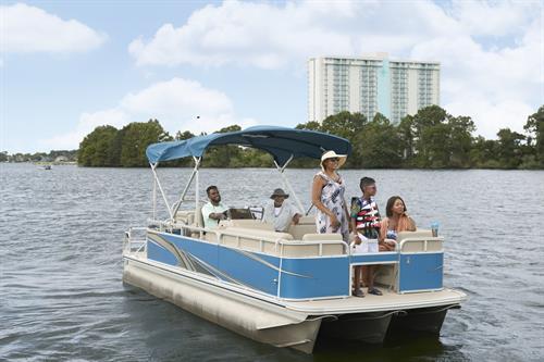 Pontoon Boat rental from Einstein's Surf & Boat Shop at Margaritaville Lake Resort, Lake Conroe | Houston