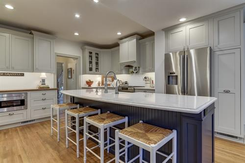 Grey and Blue Kitchen with inset cabinets