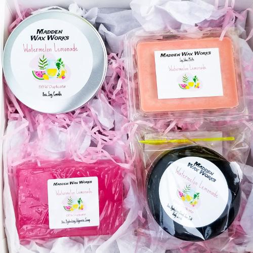 Madden Wax Works-Self Care Box Includes: 8oz Soy Candle, Soy Wax Melts, 3oz Hydrating Glycerin Bar Soap, 5oz Hydrating Dead Sea Salt Body Scrub.