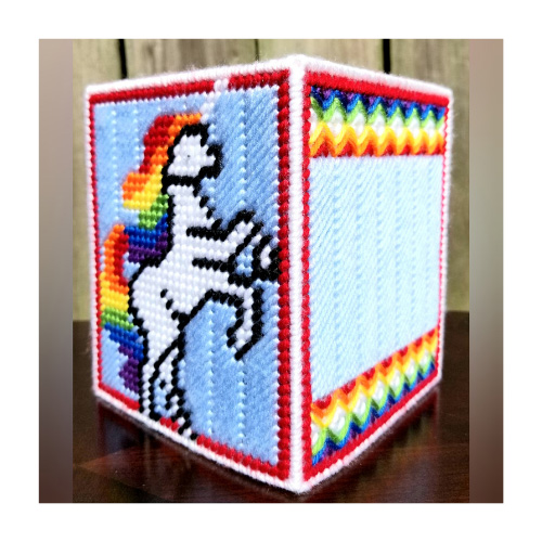 Amber's Canvas Creations- Unicorn Tissue Box