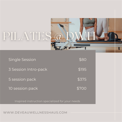 With pilates, you will find purpose, passion, and movement abilities that will help you to create the life you dream about. Deveau Wellness Haus offers private, in-studio equipment sessions, virtual group glasses and more!