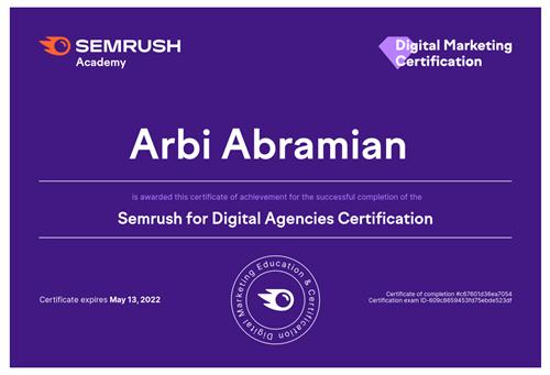 SEMRush Digital Marketing Agency Certification