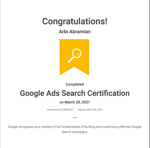 Google Ad Search Certification required Annually