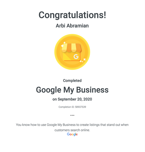 Google My Business GMB certification