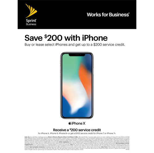 Come to Fresh Pond sprint store and Buy or lease select iPhones for your business and get up to a $200 service credit