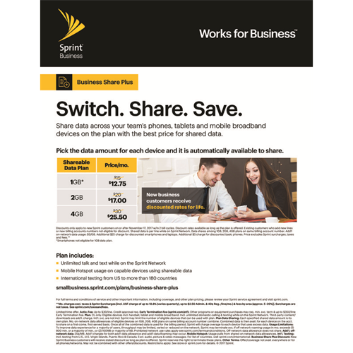 Save on shared data for phones, tablets and mobile broadband devices with the Business Share Plus plan.