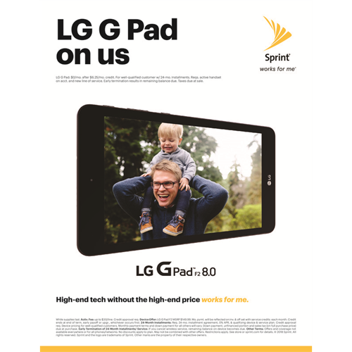 FREE FREE FREE at the sprint store in Freash Pond Mall Get LG G Pad F2 8.0 ON US with new line of service.
