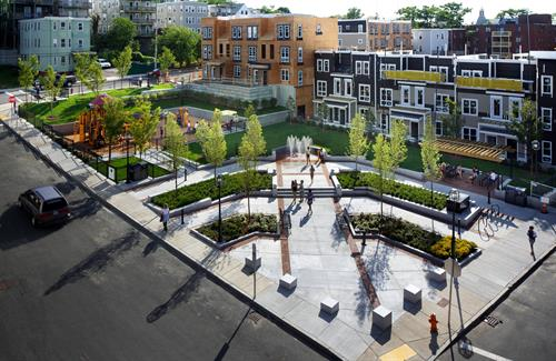 Multi-use neighborhood park in the Box District neighborhood of Chelsea, close to a new Silver Line station