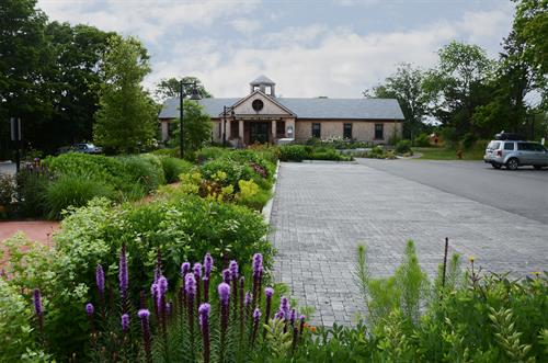 Permeable paving at a parking lot for the West Tisbury Public Library