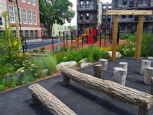 Outdoor classroom and playground at the Martin Luther King, Jr. Elementary School in Dorchester