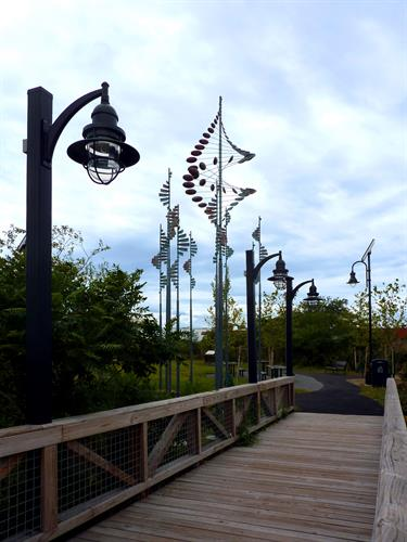 CBA worked with an artist to place kinetic wind sculptures at Island End Park in Chelsea, MA
