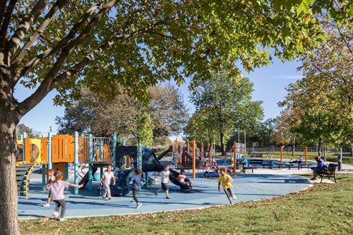 Colorful and exciting play equipment at Roberts Playground in Dorchester