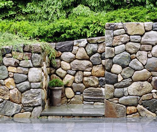 Stone wall and steps at a private residence