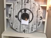Huge Repurposed wooden spool clock