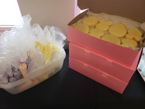 "We had a blast making these darling little Easter cookies for our great friends at East Auburn Baptist Church this weekend! The frosting and sprinkles were added later by the individual ""cookie artists"""
