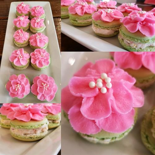 Tropical Fruit Flavored Macarons with Buttercream Flowers