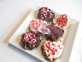 Chocolate Cookies in Heart Shape Decorated