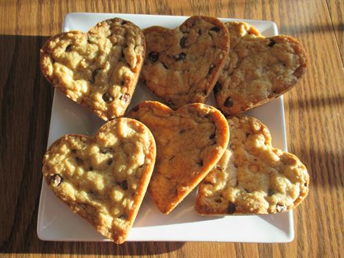 Heart Shaped Cookies in Chocolate Chip Flavor
