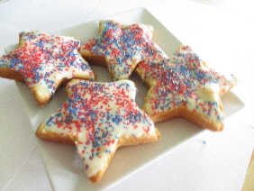 Sugar Cookie in Star Shape Frosted and Decorated