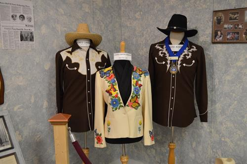 Costumes worn by Elmer Larson, Jeanie Carter Johnson and Russ Adams, Hall of Fame inductees.