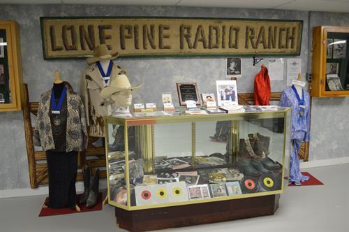 Memorabilia of musicians heard on Lone Pine Radio Ranch.