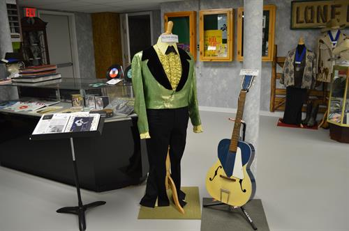 Costume and guitar of Elton Record. The Record family owns the Silver Spur dance hall in Mechanic Falls, Maine.