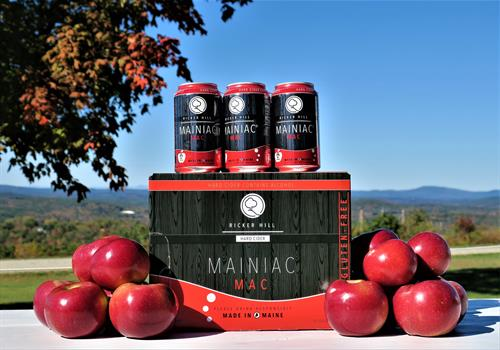 Mainiac Mac hard cider is made with our own McIntosg apples grown in our Maine orhcrds.
